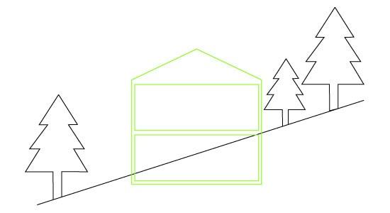 piktogram bolig i skråning