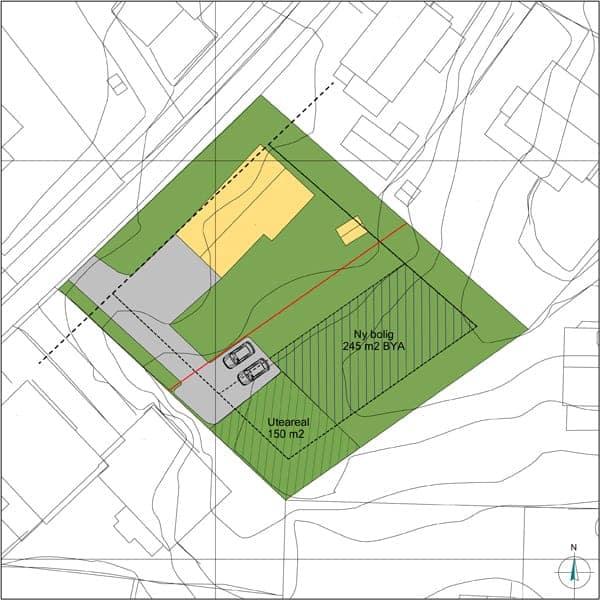 Situasjonsplan med en bolig og markert uteområde