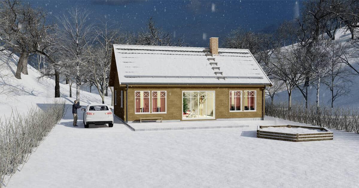 Illustrasjon av enebolig i vinterlandskap med hvit bil laget av Arkitekt Sandmark fra Trondheim