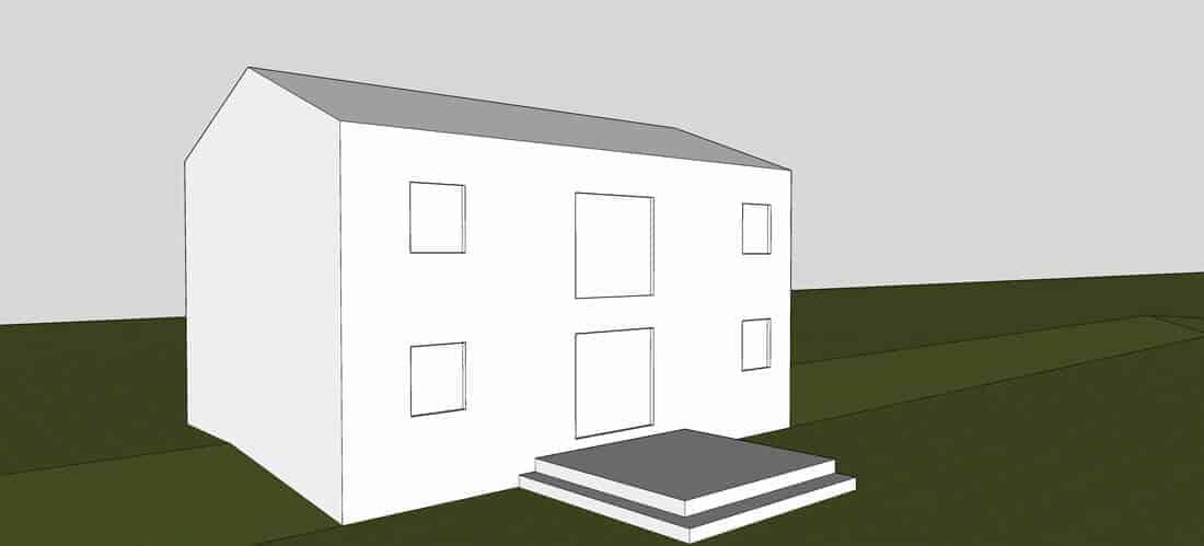 Skisse av bolig med terrasse