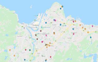 Kart som lokaliserer de tomtene arkitekt sandmark har jobbet med i Trondheim