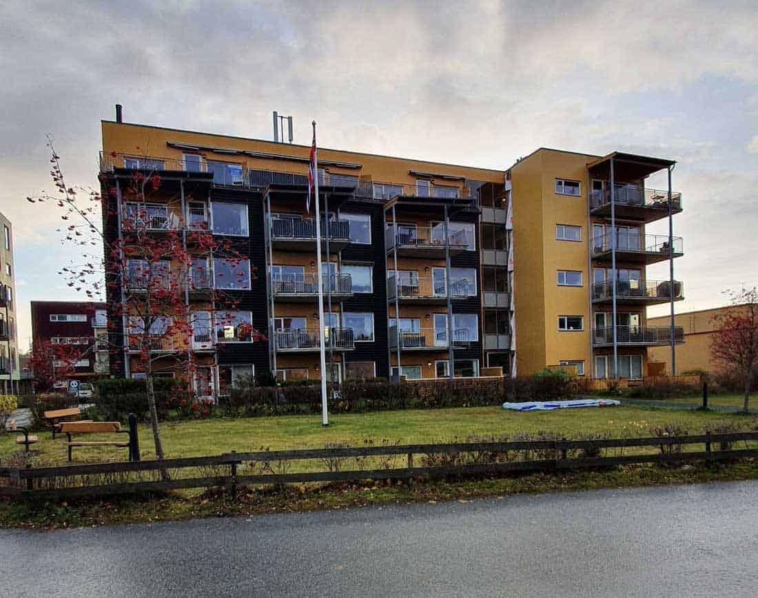 Skisse av bolig med patting