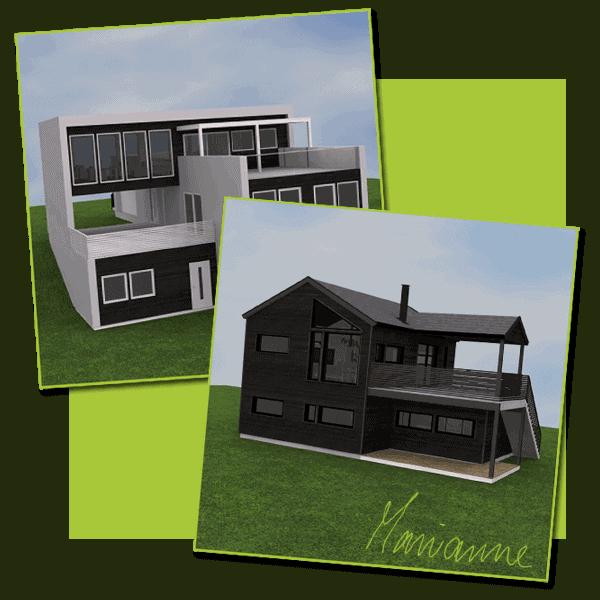 To boliger tegnet av arkitekt sandmark
