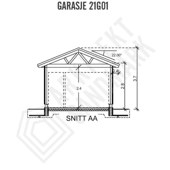 Garasje tegninger 24 m2 4x6 m fritatt fra søknadsplikt