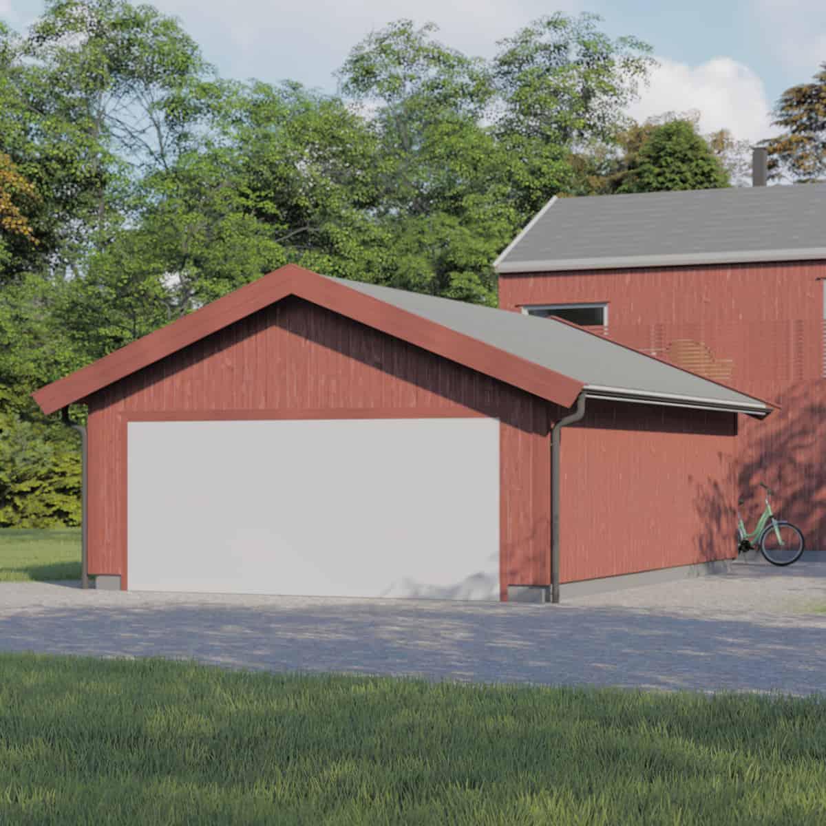 Rød garasje laget av arkitekt Sandmark