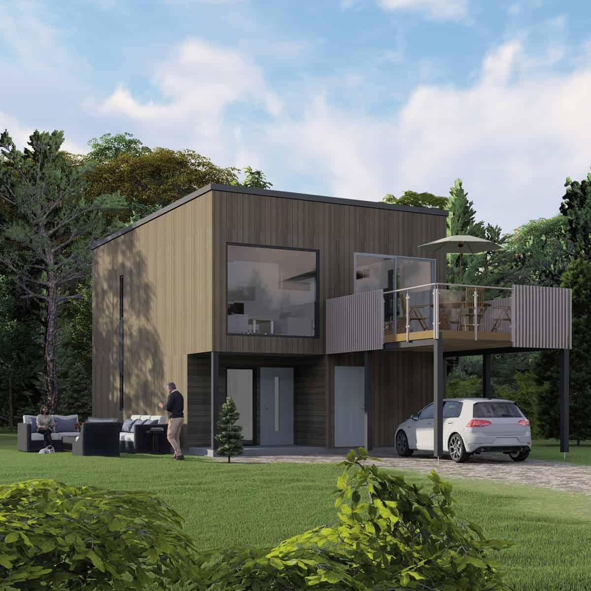 Moderne bolig med flatt tak og carport med altan over
