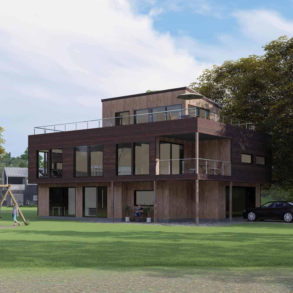 Enebolig i tre etasjer laget av arkitekt sandmark